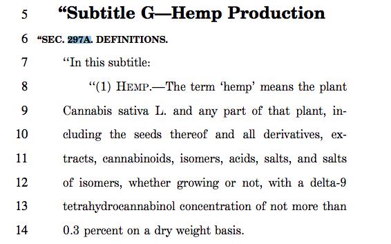 "The Farm Bill's definition of ""Hemp."""
