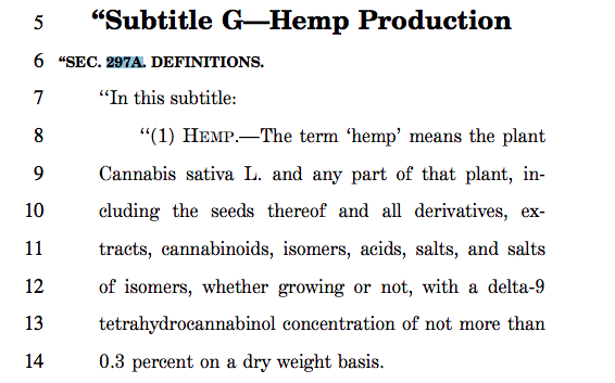 "The 2018 Farm Bill's definition of ""Hemp."""