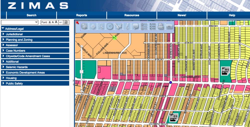 Check zoning information on Zimas.