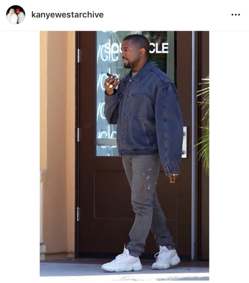 198b5a9265e Kanye in Helmut Lang denim and adidas Yeezy 500 sneakers.