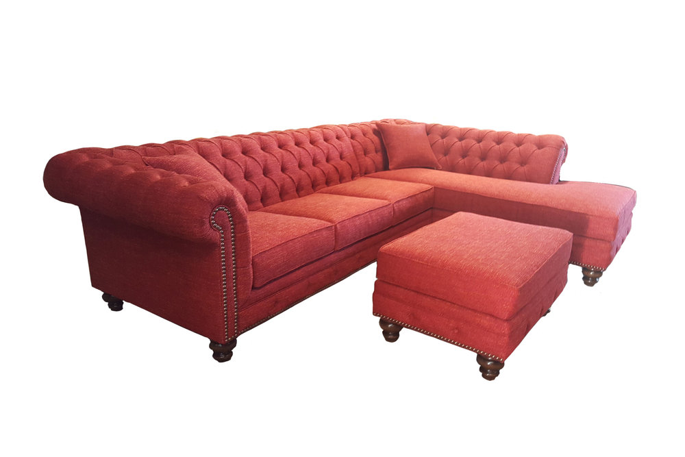 Chesterfield Sectional W/ Sofa Chaise