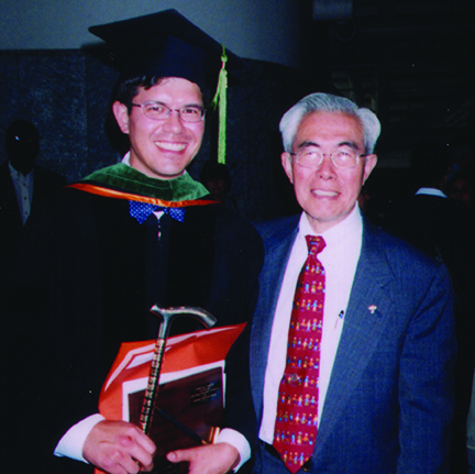Dr. Nikaidoh with his son Dr. Hitoshi Nikaidoh, who passed away in 2003.