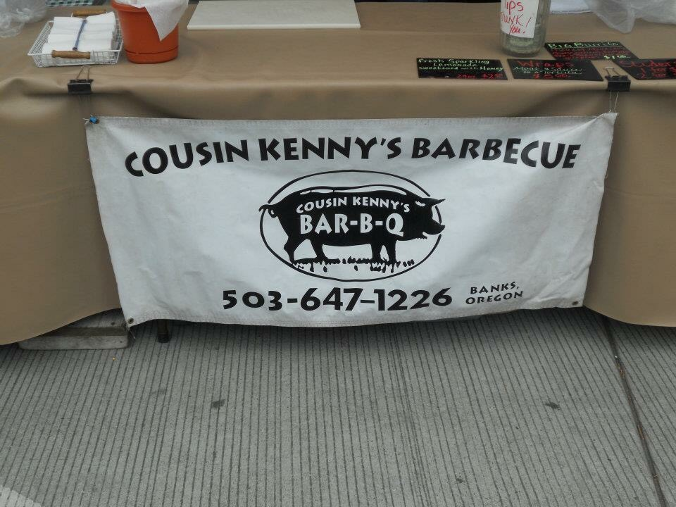 Cousin Kenny's Barbecue at the Downtown Hillsboro and Orenco Station Farmers' Markets.