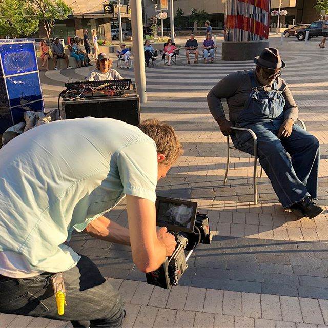 "I have a love hate relationship with Filming on the fly. I always hate asking strangers, ""Do you mind if we film you?"" But when they say yes, I always love what we capture. When we were out filming for the @lincolncitychamber we came across this man enjoy music at and event called TowerJazz. He had his eyes closed, tapping his feet, and rocking his head back and forth to the music. I really didn't want to interrupt him in this moment, buuuuuuuut how could I not? And I'm so glad we did, as this scene turned out to be my favorite of the entire shoot. Perfect lighting with the sun about to set, and genuine life in Lincoln."