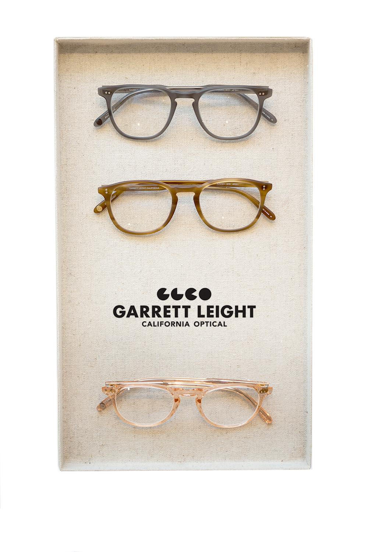 garrett leight frames in a tray