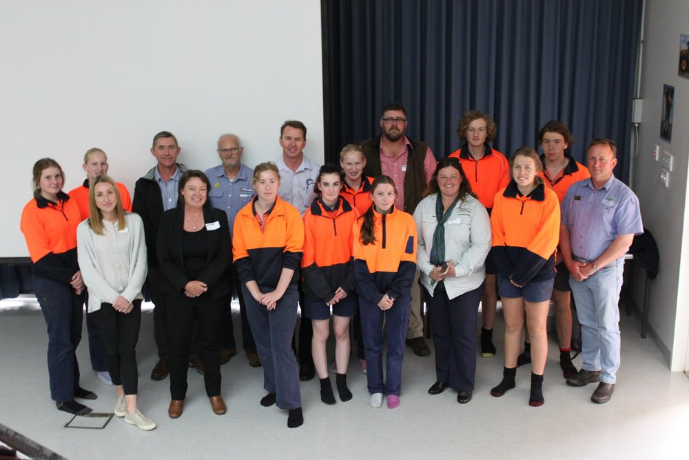 Presenters, SCF Staff and some of the Denmark Ag Students at the 'Careers in Agriculture' information session held at WA College of Agriculture, Denmark. PHOTO: Janice Axe, WACoA.