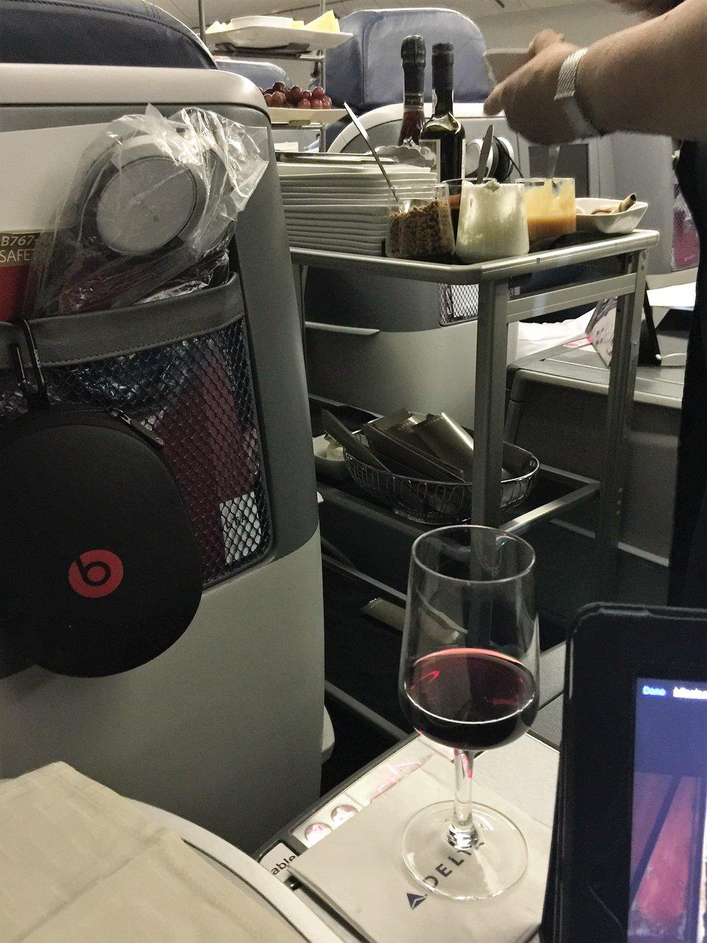 Dessert cart and a glass of Port