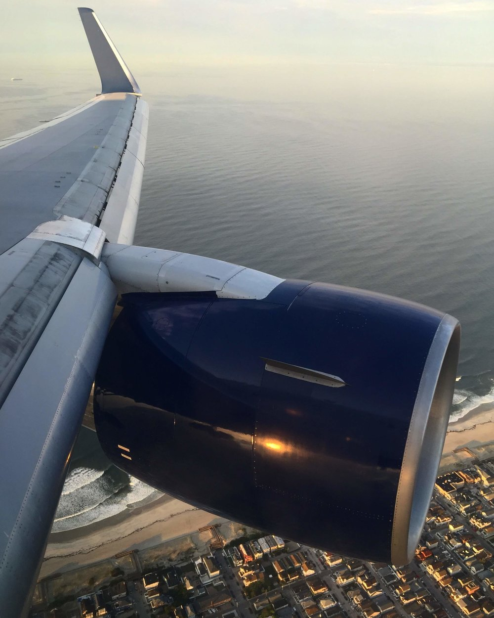 Moments before touching down in New York