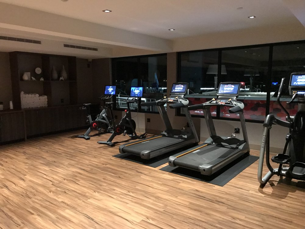 Large workout room with several exercise options