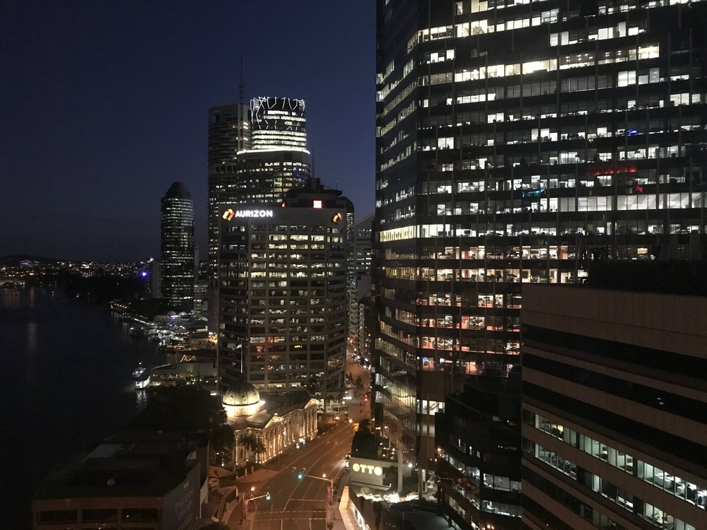 Nighttime view of Downtown Brisbane