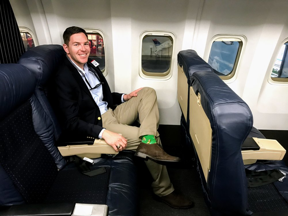 Sitting in the First Class seat on Delta's first 767