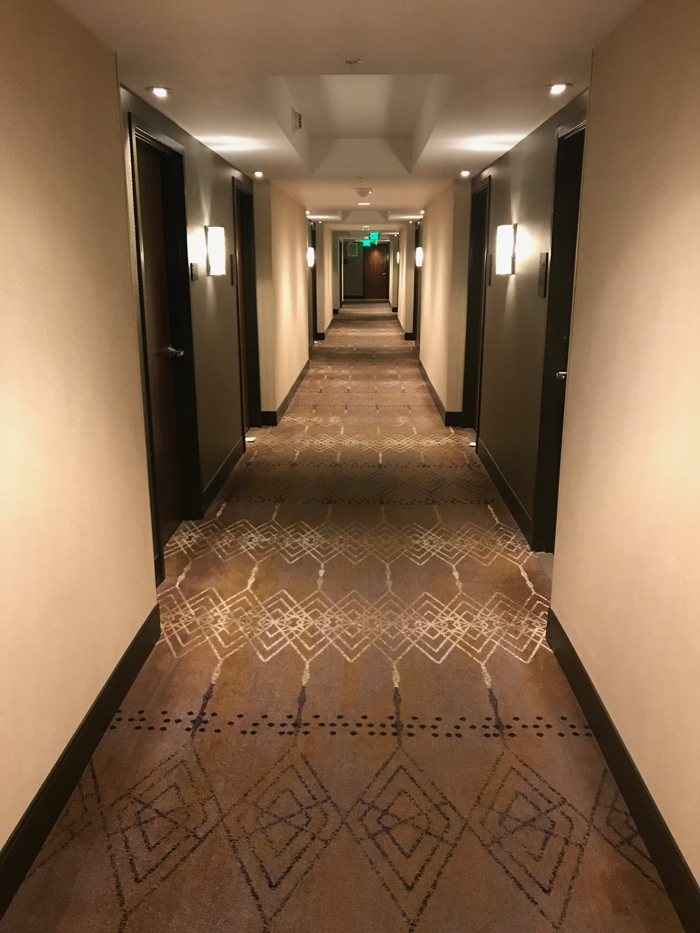 Hallway leading from the elevators to the guest rooms