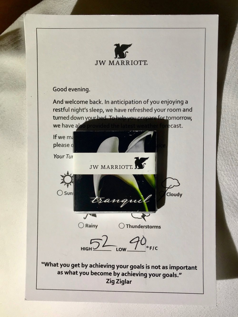 There was nightly turndown service that included the next day's weather forecast