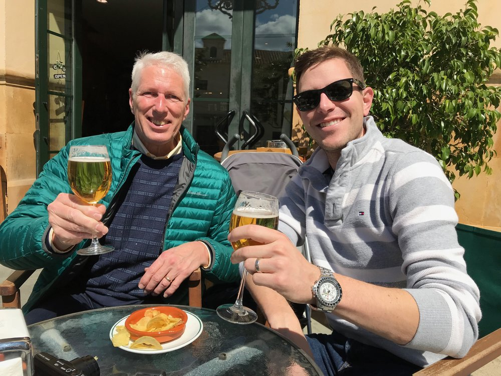 Sharing a beer with my dad in Spain.