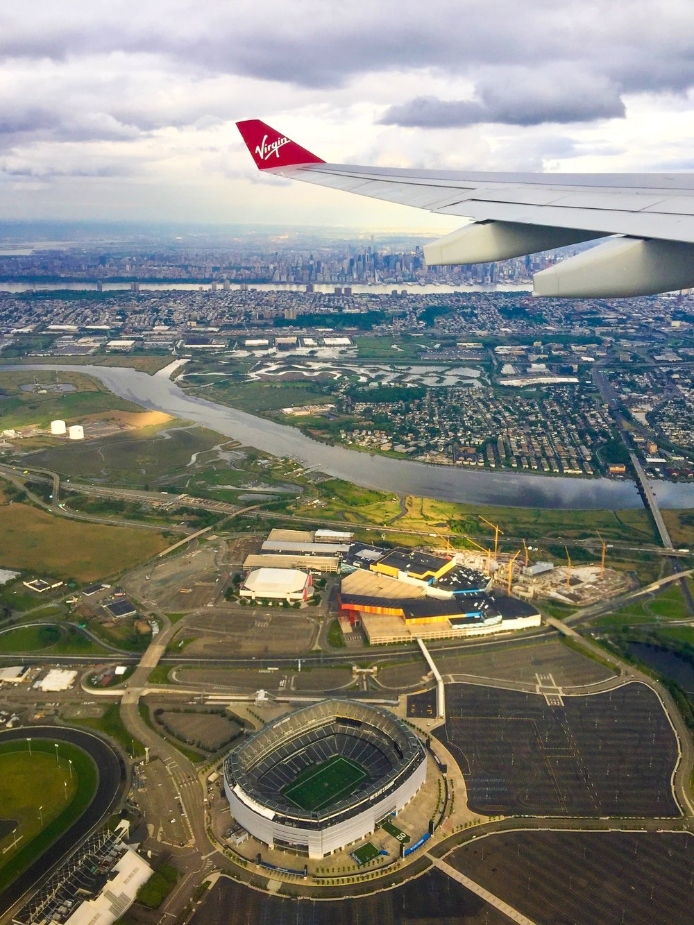 The arrival into Newark passes just over the Meadowlands and MetLife Stadium and offers excellent views of Manhattan.