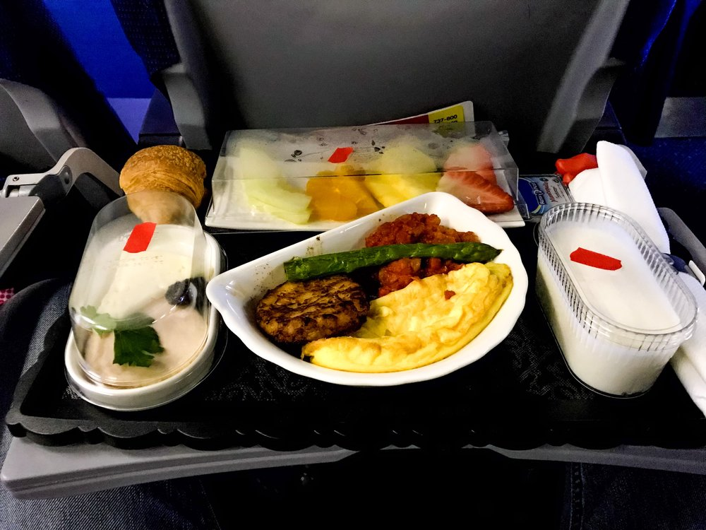 The breakfast was excellent and very filling, much better than any breakfast I've had in US domestic First Class.