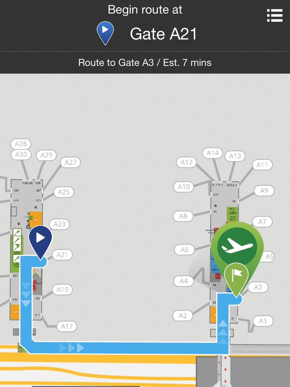 American's App offers convenient step-by-step directions to your next gate or baggage claim if you're not sure where to go next.