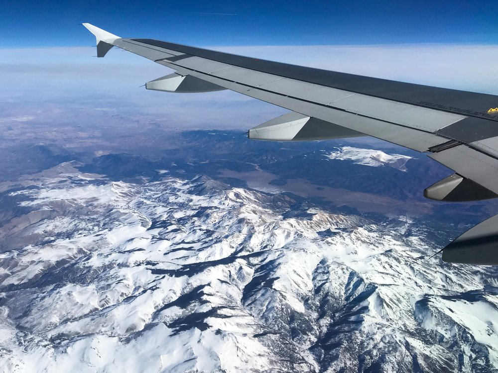 Flying over the Sierra Nevadas enroute to Phoenix.