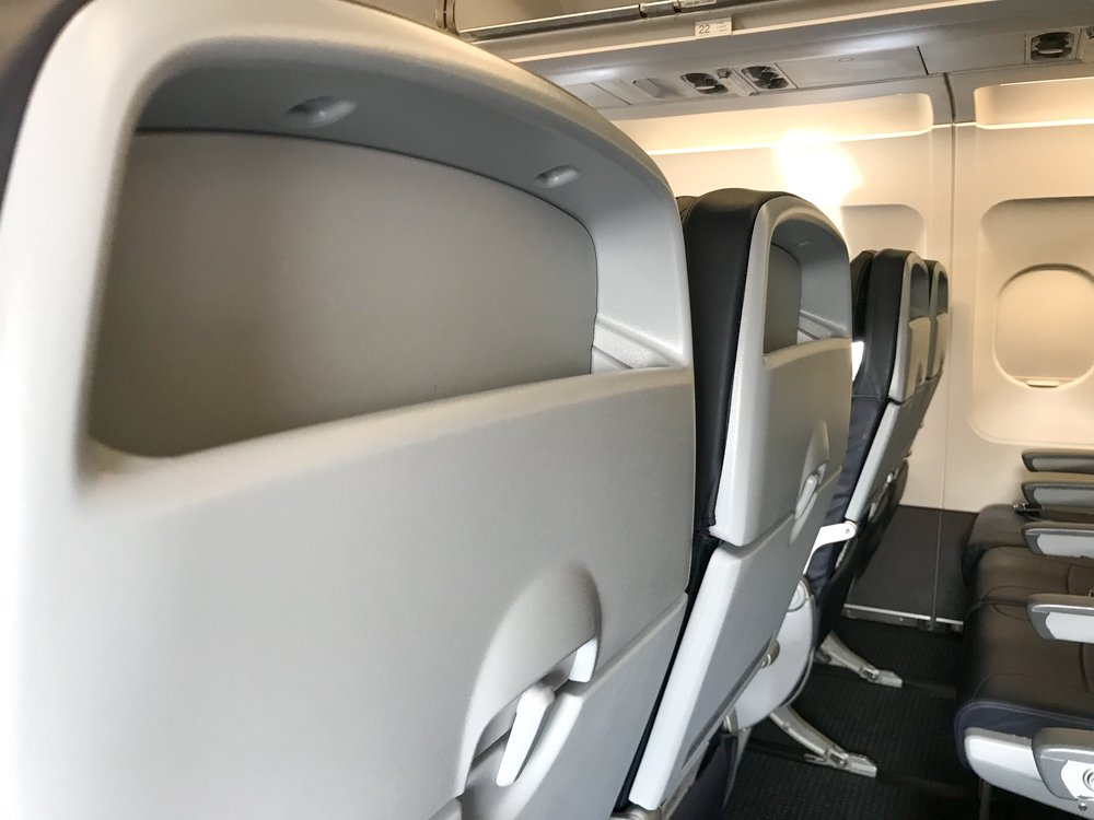 American has two versions of the A319 - one with IFE screens and one without. I personally prefer having seatback IFE over using my own device, but the storage bin in the seat was convenient to place a book or phone while using the tray table.
