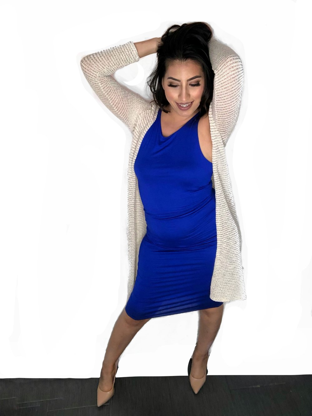 Long Cardigan With Bodycon Dress