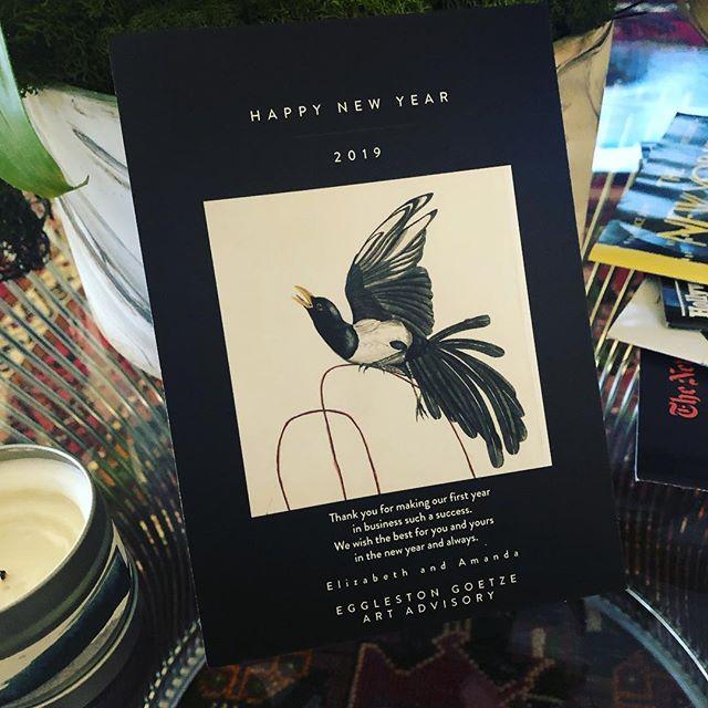 Happy New Year!  Thank you for making our first year in business such a success.  @elizakegg @amandagoetze 👨🎨 @admbatchelor #birdart #art #2019 #adambatchelor #happynewyear2019 #collectart #artadvisory #artadvisor #buyart #thankyou #womanownedbusiness #cheers #artistsoninstagram