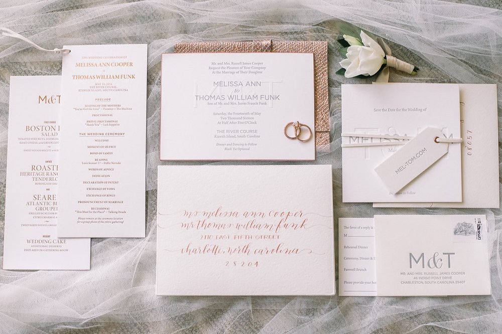 Floral Island Wedding, Events by Reagan, Kiawah Wedding, Charleston Wedding Planner,  Destination Wedding Planner, Wedding Invitation, Boutonniere, Dinner Menu