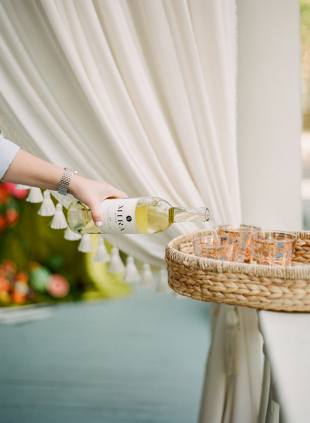 Charleston Porch Party, Events by Reagan, Dinner party, Tropical party, Charleston Event Planner , Wine Glasses, Wine Tray