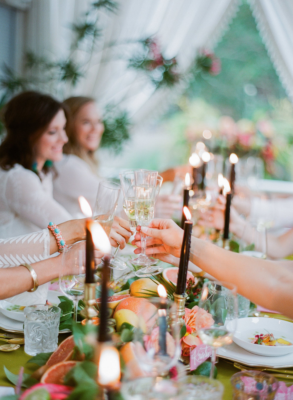 Charleston Porch Party, Events by Reagan, Dinner Party, Tropical Party, Charleston Event Planner , Table Decor,  Champagne Toast