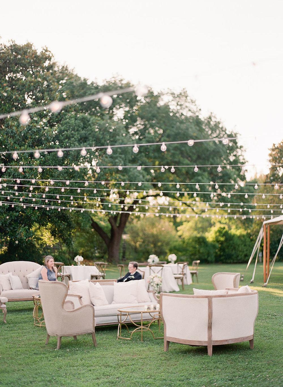 North Carolina Wedding, Events by Reagan, Destination Wedding Planner,  Outdoor seating, String lights