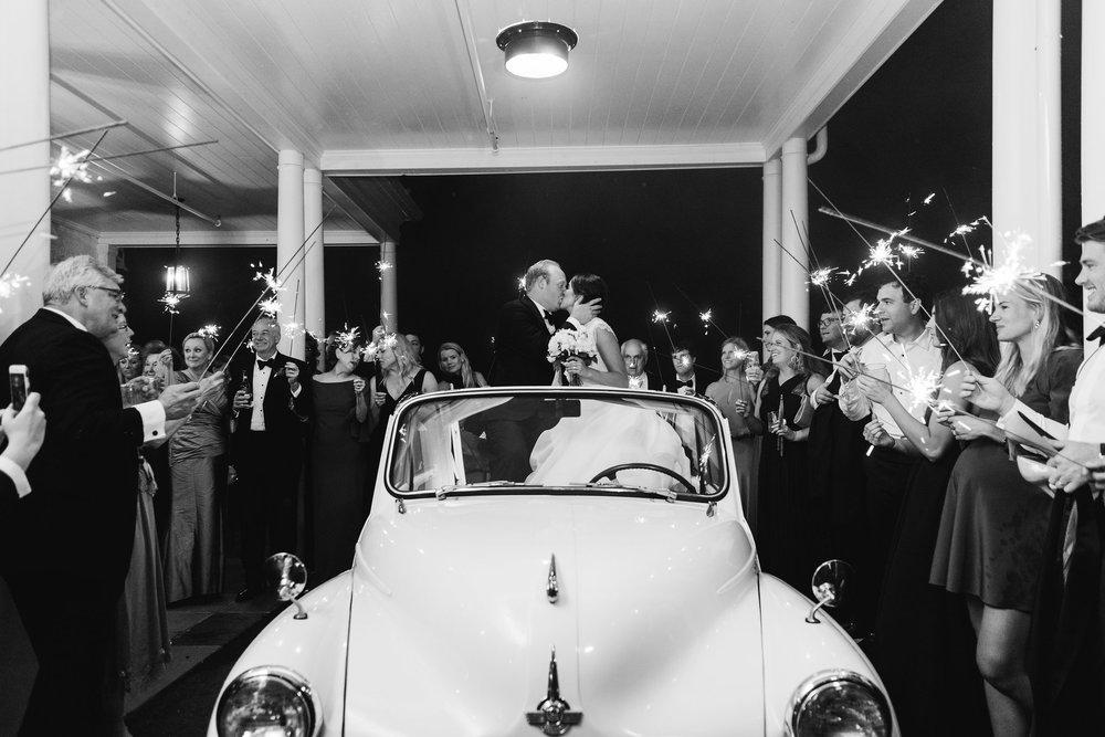 North Carolina Wedding, Events by Reagan, Destination Wedding Planner, Bride and Groom, Just married car, Sparklers