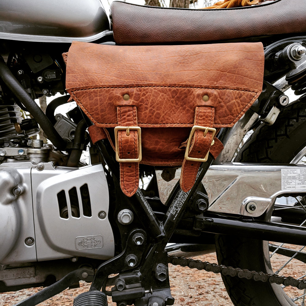 Shannon built this badass leather tool pouch, fit perfectly to her bike for cheaper than it cost to buy one!