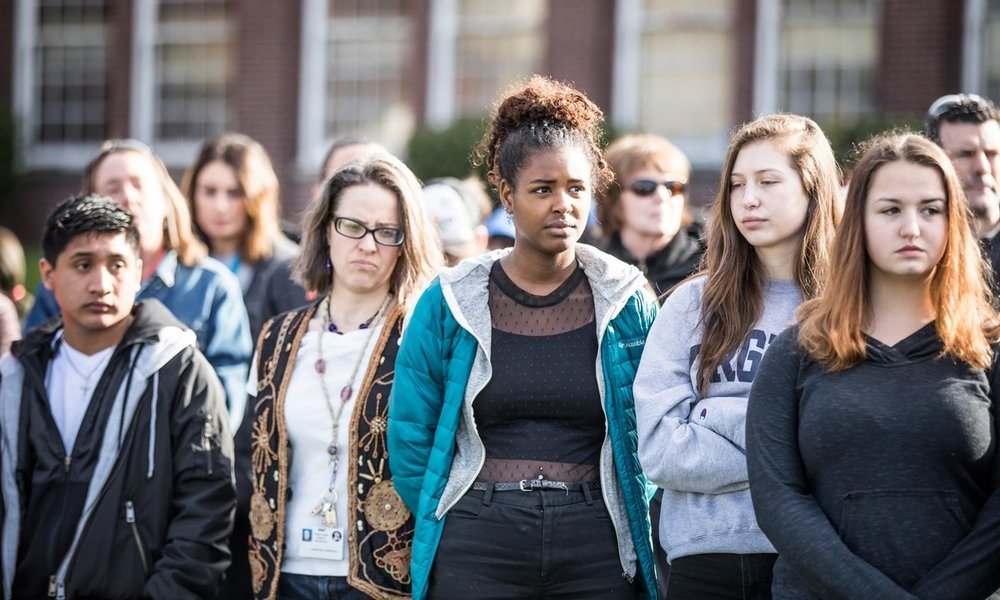 A walkout at Benson Polytechnic High School to protest gun violence. (Sam Gehrke)
