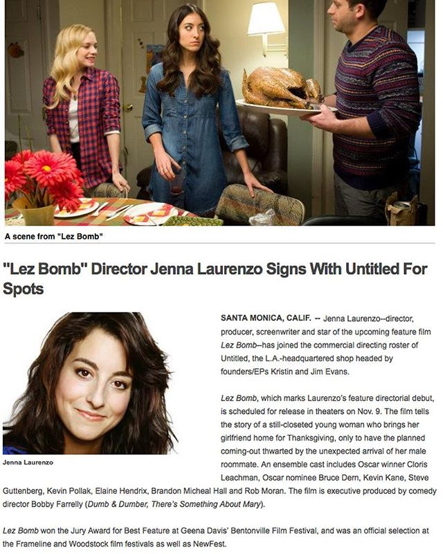 Jenna Laurenzo signs with @untitledinc! Click the link in bio for the full @shootonline article featuring director @jennalaurenzo