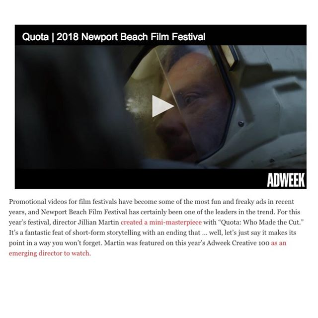 "Congratulations to Todd Quartararo at The Newport Beach Film Festival-Erich Funke, Melissa Webber, Jeff Perino, Todd Quartararo, Zak Masaki, Larry Struber everyone at The Garage / Team Mazda, and Director Jillian Martin for ""Quota"" Making Adweek's top 25 Best Ads of 2018!"