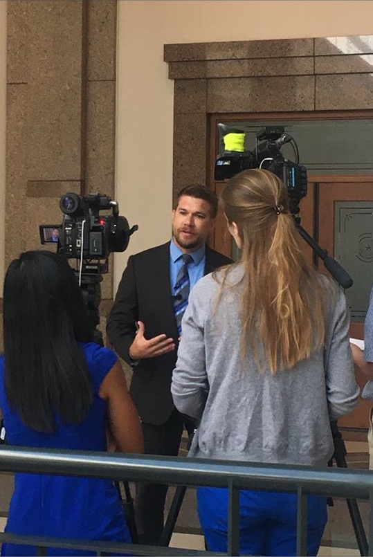 Dr. Jeff Temple speaking to media after sitting on the Governor's Roundtable for School Safety following the Santa Fe, Texas High School shooting.