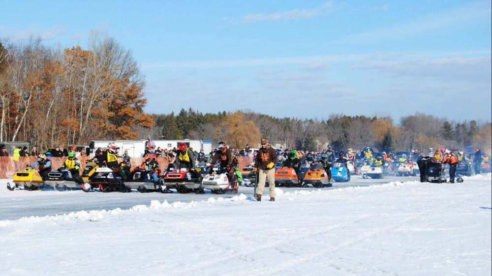 Last year's One Lunger 100 snowmobile endurance race drew a total of 109 vintage sleds and riders to the ice of Big Detroit Lake. This year's event is set for Saturday, Jan. 12. (Submitted photo)