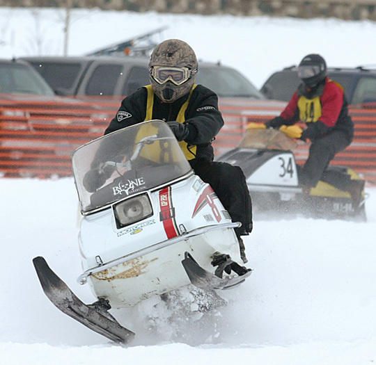 Vintage snowmobile racing returns to the ice of Big Detroit Lake on Saturday, Jan. 12. (Tribune file photo)
