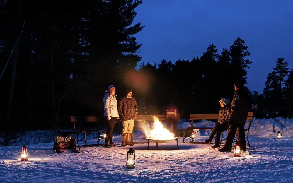 There will be a campfire blazing merrily at the trailhead for Itasca State Park's annual Lantern Lit Ski & Snowshoe event, which gets underway at 5 p.m. next Saturday, Jan. 12. Visitors can bring their own hot dogs and fixings for s'mores, and there will be free marshmallows provided for roasting as well. (Minnesota DNR photo)