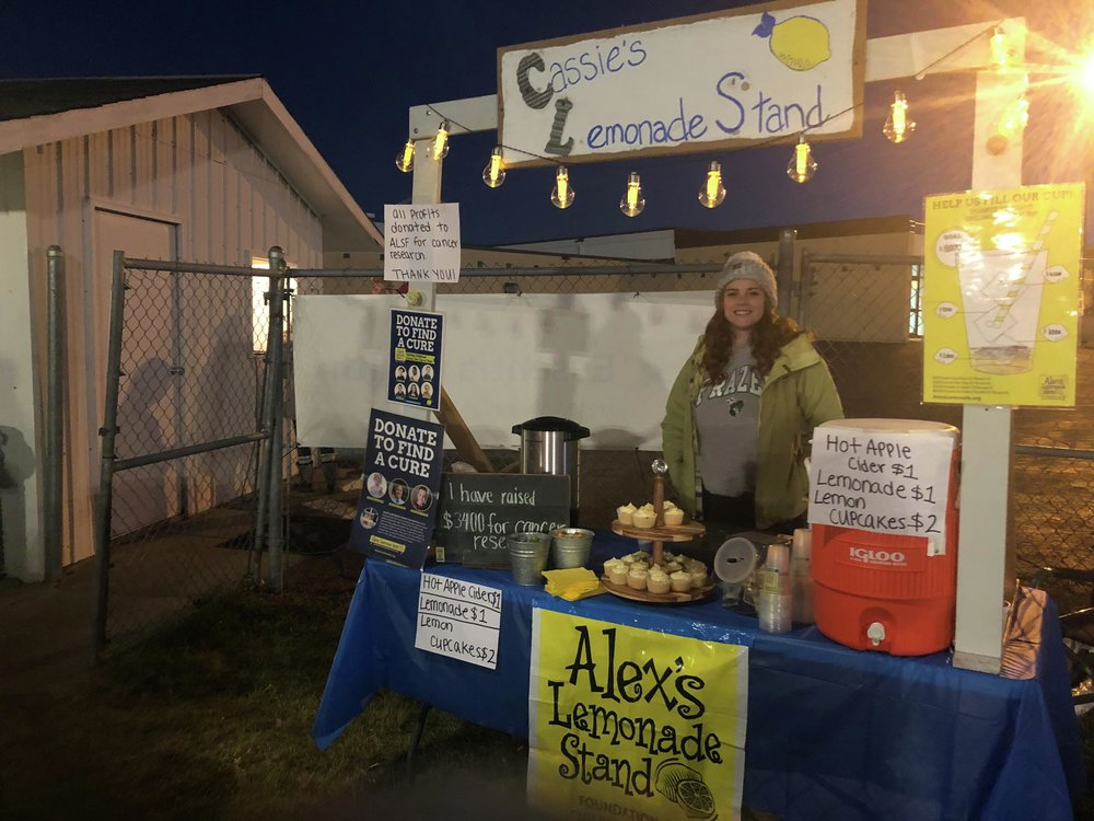 "This fall, Cassidy Shipman brought her lemonade stand outdoors for a Frazee Hornets football game and added hot cider to the menu, which she said was ""a really good idea,"" as it helped raise even more money for ALSF while helping football fans keep warm in the chilly weather. (Submitted photo)"