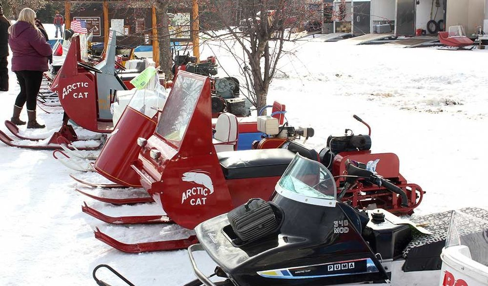 Snowmobilers gathered at Trailside Park in Pequot Lakes, to look at vintage equipment, participate in trail rides and race around the park during the annual (2018) Antique Snowmobile Rendezvous. Echo Journal file photo.