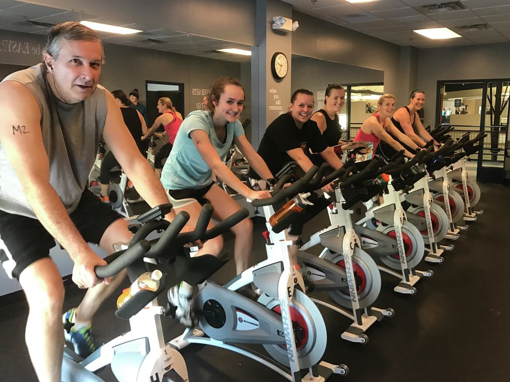 Each competitor in the annual DLCCC Indoor Triathlon is asked to complete a 30-minute ride on the stationary bike in the Center's cycle studio. This year's event is set for Saturday, Feb. 2. (Submitted photo)