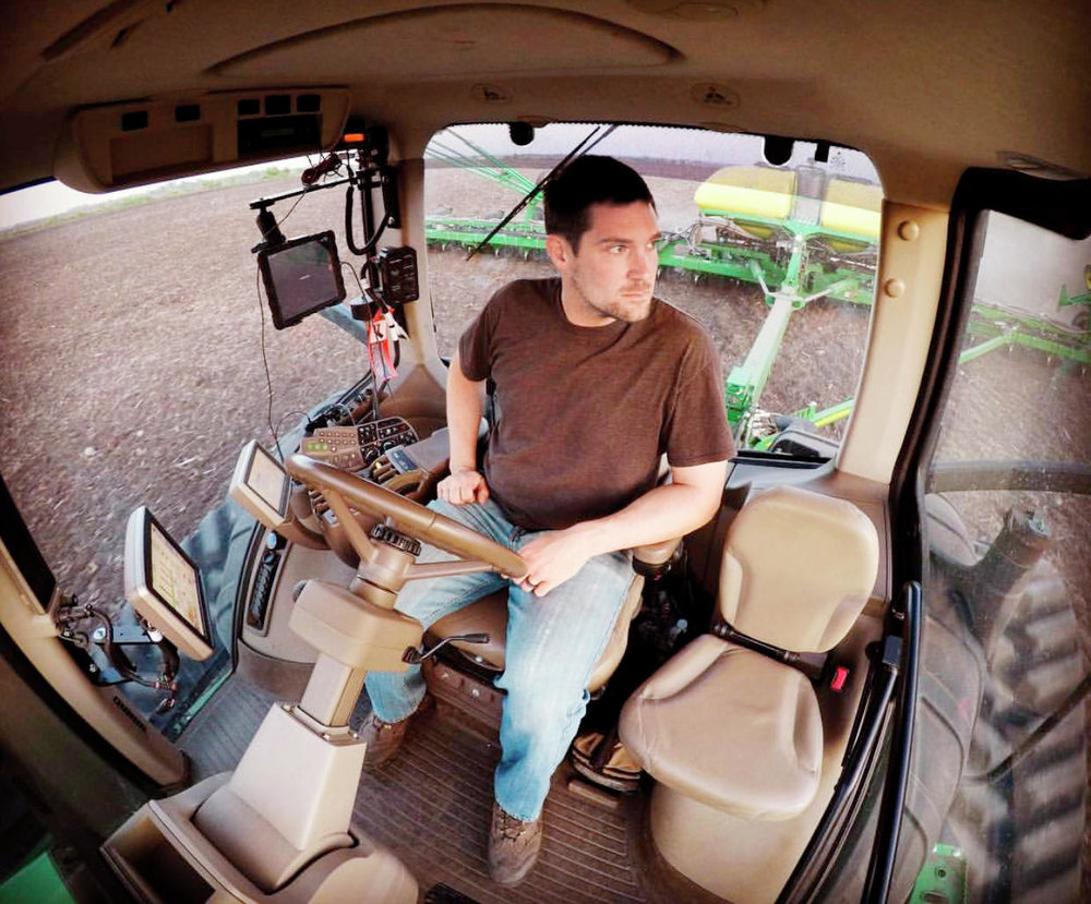 Zach Johnson takes a GoPro selfie on May 14, 2017, in his tractor (Zach Johnson / Instagram @mnmillennialfarmer)