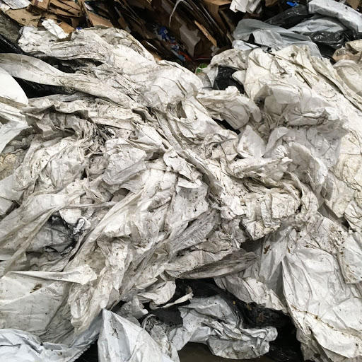 Farm plastic piled at the Becker County Recycling Center will be baled and shipped off to become new plastic bags and other products. submitted photo