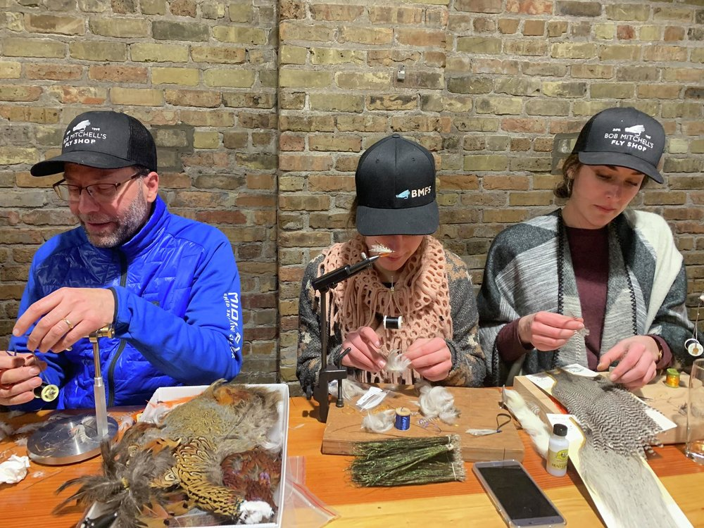 Paul, Marce and Rose Gangl chose to tie the grey ghost — a classic featherwing streamer pattern that produces trout wherever they swim. Steve Hoffman / Forum News Service