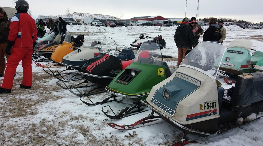 Vintage sleds of every shape, size and color can be found gathering at the Lake Park Liquor Store parking lot every year on the first Saturday in February. This year's Midnite Riders Classic Old Timers Run is set for Saturday, Feb. 2. (Submitted photo)