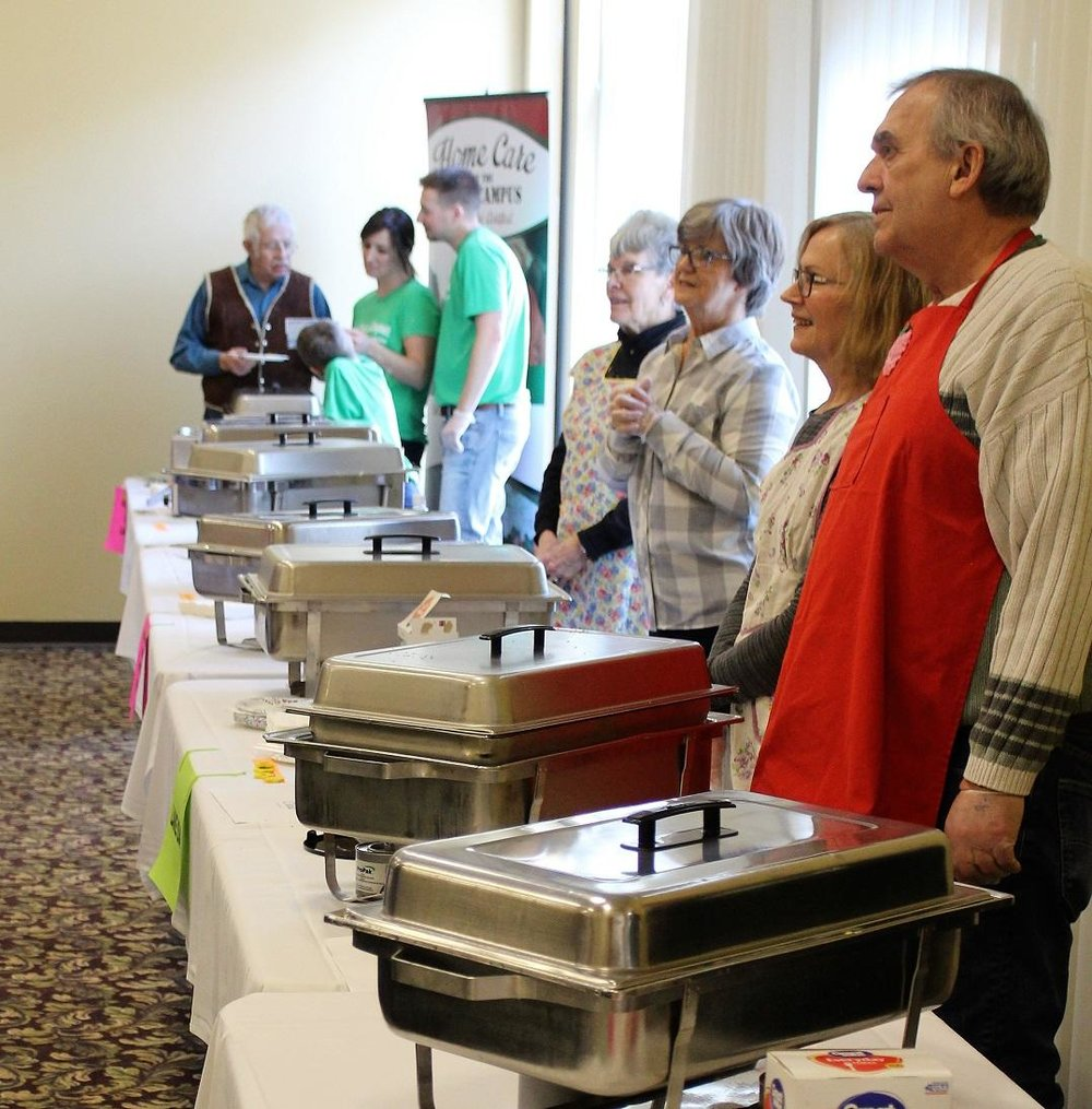 Pans of hotdish were ready to be served to the hungry masses at the first-ever Great Hotdish Bake-Off Saturday afternoon. The event, held at Broadway Ballroom in Alexandria, was put on by the Douglas County Historical Society and the Alexandria United Methodist Church. (Celeste Edenloff / Echo Press)