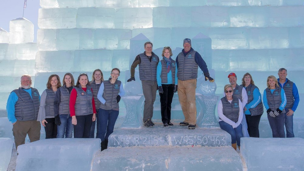 """The Detroit Lakes Ice Harvest Steering Committee was presented with the """"Best New Event of the Year"""" award from Explore Minnesota Tourism for the creation of King Isbit's Ice Palace in 2018. (Submitted photo)"""