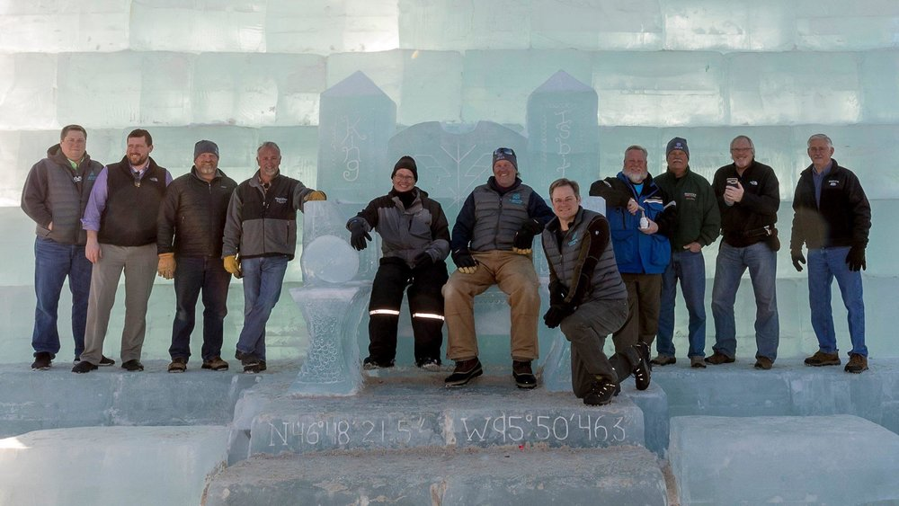 The builders of King Isbit's Ice Palace, which was the winner of a Only in Minnesota Award from Explore Minnesota Tourism for Best New Event of the Year 2018. (Submitted photo)