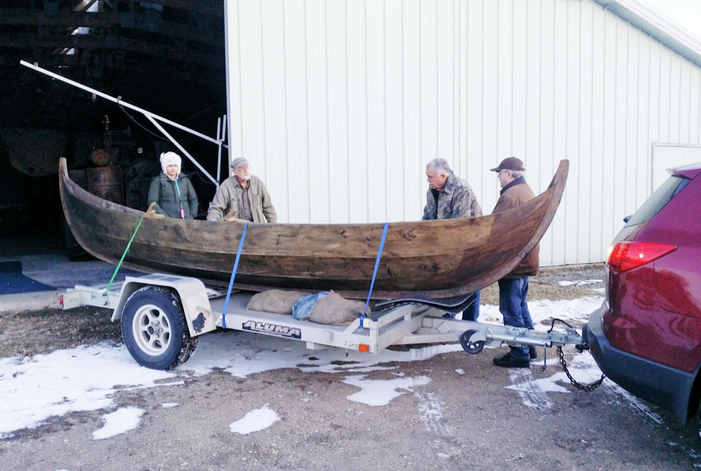 Runestone Museum volunteers bring a Viking-style boat to Alexandria. The boat is one used in a Science Channel TV series about ancient Viking travels in North America. The Kensington Rune Stone and the Runestone Museum will be featured in the fourth episode on Sunday, March 3. (Contributed)