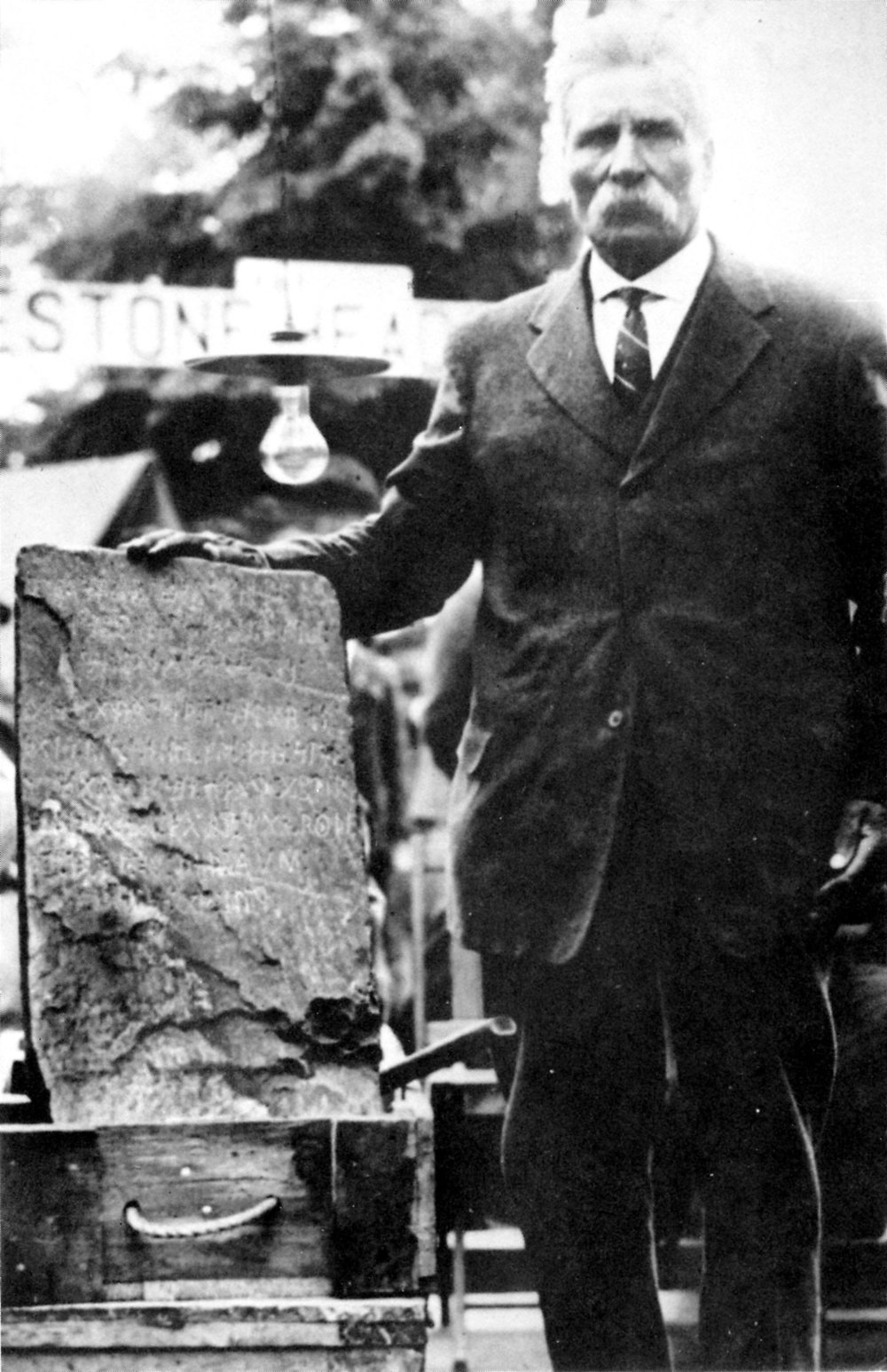 Pictured is Olof Ohman, a Swedish farmer living near Alexandria, who found the Kensington Runestone in grubbing an aspen tree in 1898. This photo was taken circa 1927. (Submitted photo)